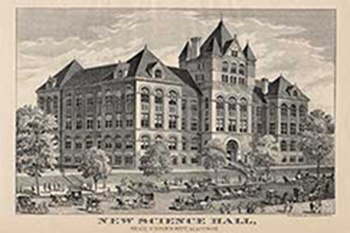 postcard showing an illustration of science hall.