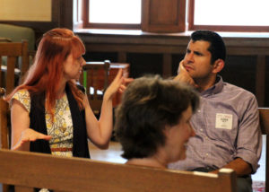 CSN members Kayla and Ruben talk at a session
