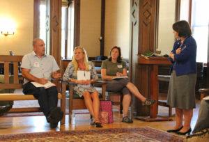 book club participants talking
