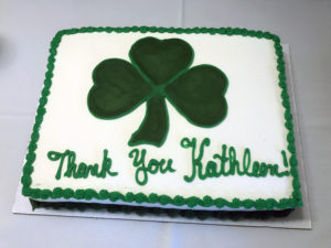 a cake with Thank You Kathleen on it