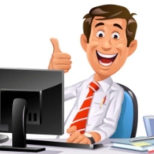 cartoon guy at computer giving thumbs up.