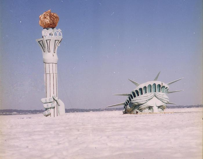 Lady Liberty on ice