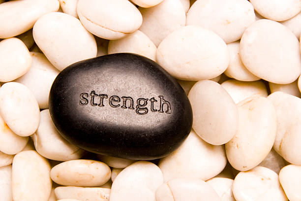 rock with word strength on it